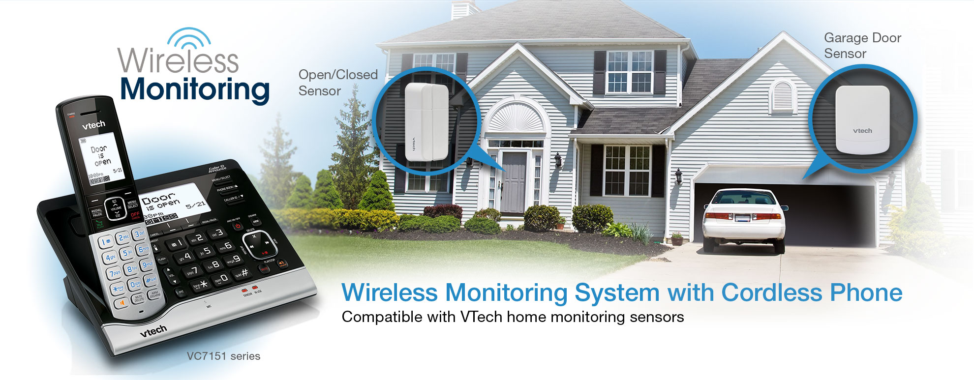 Wireless Monitoring System with Cordless Phone - Compatible with VTech home monitoring sensors